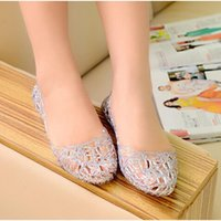 Sandals Women Jelly Ladies Hollow Out Mesh Crystal Bling Flats Shoes Female Fashion Casual Breathable Woman Comfort