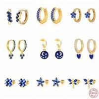 Stud 925 Sterling Silver Enamel Piercing Earring Blue Crystal Love Heart Star Earrings Pendientes Plata Jewerly For Women