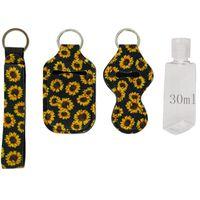 Neoprene Hand Sanitizer Bottle Holder Wristlet Keychain 4pcs Chapstick Holder 30ml Bottle Waterproof cloth key chain