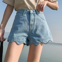 Himifashion Mujeres Sexy Summer Denim Shorts Casual Alto Cintura ancha Lace Botton Blue Pocket Jeans Mujeres
