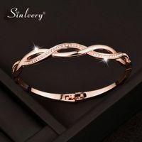 Sinleery Rose Gold Silver Color Charm Zirconia Hollow Bangle for Women Cross Bracelets Jewelry Sl217 Ssf