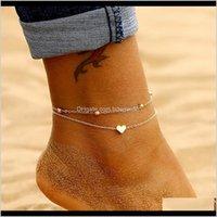 Drop Lieferung 2021 Einfache Herz Weibliche Fußklets Barfuß Häkeln Sandalen Schmuck Mode Doppel Laien Fußkettchen Zu Fuß Knöchel Armbänder Frauen Nixq