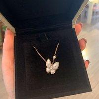 순수 실버 F 가족 여성의 전체 다이아몬드 자연 흰색 Fritillaria 나비 도금 18K 금 목걸이 쇄골 R19E