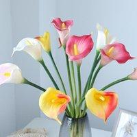 Dekoratif Çiçekler Çelenkler 5 adet Tek Şube PU Calla Lily Gerçek Dokunmatik Yapay Çiçek Simülasyon Buket Düğün Dekor Çelenk