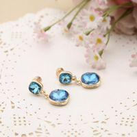 Design Ohrringe Bolzen Aqua Gold-Ton-Citrin-Drop mit Big GLAS-Designer-Stein-Stylist Schmuckfrauen-Mädchen-Geschenk 1105 T2