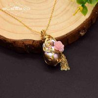GLSEEVO 925 Ayar Gümüş Kolye Kadınlar Için Doğal Büyük Barok Inci Çiçek El Yapımı Kolye Bijoux Femme GN0121