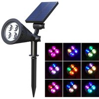 4 LED Solar lamp Spotlight Lawn FloodLight Outdoor Garden Adjustable 7 Colors Wall Landscape Light for Patio Decor