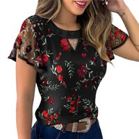 4 Styles Sexy Women Ladies Ruffle Sleeve Tops Pullover Dot Polk Embroidery Floral Print Blouse Ol Casual Chiffon Jumper Tee