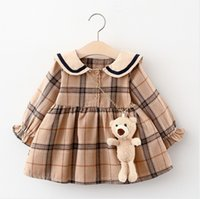 Baby Girls Princess Dress Spring Autumn Girl Long Sleeve Plaid Dresses With Little Bear Great Quality Kids Casual Skirts Children Clothes