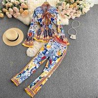 Women's Two Piece Pants FABPOP 2021 Runway Fashion Elegant Vintage Print Pant Suit Ruffle Blouse Shirt Top Long Set Women GC098