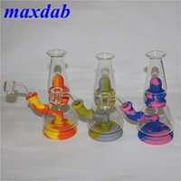 silicone water pipe bubbler hookah portable tobacco smoking oil unbreakable wax rig glass smoke pipes nectar collector
