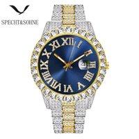 ARRVIAL MENS Diamantuhr Euro Out Uhren Blau Zifferblatt Gold Quarz Uhr Rolle Männliche Sport Armbanduhr 30m Wasserdichte Armbanduhren