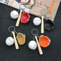 Keychains 3pcs set Wood Baseball Bat Key Chain Mini-simulated Leather Keychain Sports Surrounding Souvenir Ring Gift