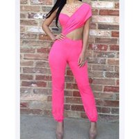 Women's Jumpsuits & Rompers Women Summer Pink One Shoulder Sexy Hollow Out Bandage Jumpsuit Asymmetrical Sleeveless Cutout Long Playsuit Bac