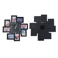 Horloge murale créative Support ménagère Dual Utilisez le cadre du support PO sans batterie Black Horloges