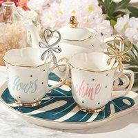 Europäische Blume Zeichnung Phnom Penh Keramik Becher Teetasse Kaffee Untertasse Löffel Teekanne Set Tassen
