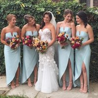 Bridesmaid Dress High Low Beach Dresses Side Split Satin Wedding Guest Sheath Simple Bohemian Maid Of The Honor Gowns