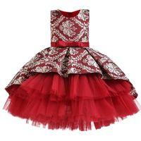 Девушка платья осень зимнее платье девушки принцесса жаккардовые туту подиумы шоу выпускной цветок девушка узел вечер 1-8 лет