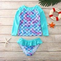 One-Pieces Sun Protection Long Sleeve Swimsuit Set Children Kids Girls Swimwear Mermaids Fish Scales Printed Bathing Suit Summer Beachwear