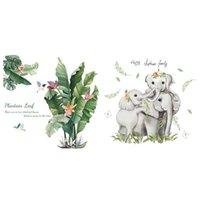 Wall Stickers 2PCS For Baby Nursery Kids Room Decals, Cartoon Jungle Elephants Family & Green Banana Leafs Plant
