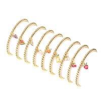 Charm Bracelets EYIKA Lovely Colorful Zircon Fruit Strawberry Cherry Watermelon Charms Bracelet Beaded Elastic Chain Women Girls Crystal Jew