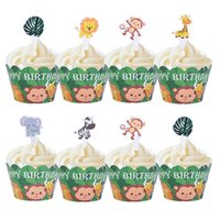 24Pcs Lion Monkey Cake Toppers Jungle Theme Party Decoration Cartoon Cupcake Wrapper Decor Kids Happy Birthday Party Supplies