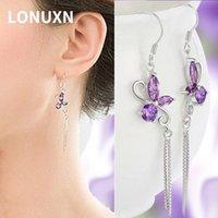 Dangle & Chandelier Butterfly Purple Crystal Long Earrings Tassel Lady 925 Sterling Silver Jewelry Water Drop Shape Women Amethyst