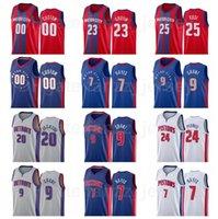 Erkek Kadın Çocuklar Ekran Baskı Basketbol Jerami Grant Jersey 9 Killian Hayes 7 Saddiq Bey 41 SVI Mykhailiuk 19 Jahlil Okafor 13 Özel