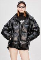 YA8003 # Orijinal Desginer Jazzevar Kış Moda Sokak Bayan Edgy Şerit Kısa Aşağı Ceket Serin Kızlar Fermuar Kapüşonlu Aşağı Ceket Giyim S