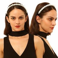 Hot new ins Fashion trendy luxury designer vintage beautiful pearl flower velvet headbands hair jewelry for woman girls