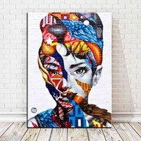 Abstract Graffiti Colorful Women Portrait Canvas Pittura a olio Poster Stampe Immagini di arte della parete per soggiorno Decorazioni per la casa 65cm