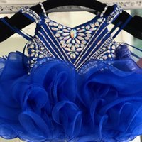 Modest Royal Blue Cupcake Toddler Infant Girls Pageant Dresses Ball Gown Rhinestones 2022 Crystal Organza Kids Teens Little Girl Party prom Formal Dress