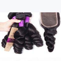 4 Paquetes con cierre de encaje 5pcs lot Mink Brownian Wave Wave Bundles de cabello con cierre Virgin Hair Human Wave Weave Bundles