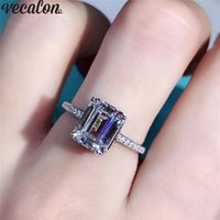 Vecalon Princess cut ring 925 Sterling Silver 2ct Diamond Engagement wedding band rings For women Statement Finger Jewelry Gift
