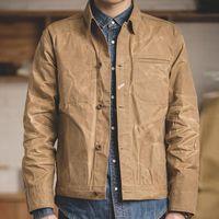 Retro Khaki Jacket Male Size M To XXL Waxed Canvas Cotton Jackets Military Uniform Light Casual Work Coats Man Clothing Men's