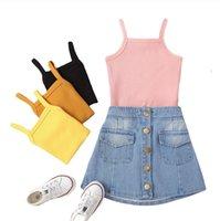 Multicolor Denim Skirt Set Solid Color Halter Top Summer Girl Dresses Baby Girls Clothes Infant Outfits Wear ZYY907