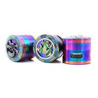 Iceblue Rainbow Herb 4layer 63MM Grinder With Diamante Spider Skull Frog Shape Side Windows Metal Herb Grinder Tobacco GWD9201