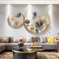 Wandaufkleber Moderne Schmiedeeisen Ginkgo Blatt Hängende Verzierung Home Wohnzimmer Aufkleber Handwerkseingangs Flur Wandbild Dekoration