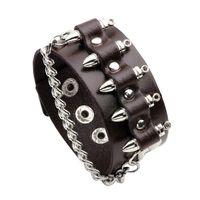 Hip Hop Style Popular Rap Singer Alloy Charm Black and Brown Leather Bracelet for Men