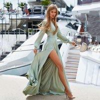 Robe 2021 Nouvelles femmes Bohemian Deep Col V-Col en V robe jupe mince