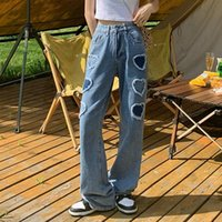 Women's Jeans Patch Designs 2021 Spring Autumn Bottom High Waist Denim Pants For Women Casual Straight Ladies Trousers PDG3872