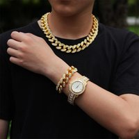 Hip Hop Necklace +Watch+Bracelet Miami Curb Cuban Chain Iced Out Paved Rhinestones CZ Bling Rapper For Men Jewelry Gift Chains