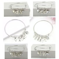 Оптовые инициалы буквы XOXO храбрый BFF KISS BRACELETS Регулируемый расширяемый провод браслет и браслет для женщин подарок