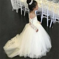 Girl's Dresses Flower Girl Long Sleeve Lace Applique Fluffy Tulle Ball Gown Wedding O-Neck Holy Communion Pageant Party Dresse