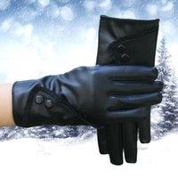 Зимние женщины модные варежки корейский кружевной сенсорный экран теплые и толстые кожаные перчатки леди