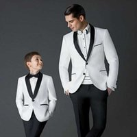2019 New men suit Groom Tuxedos white Men's Wedding Dress Prom mens suits Father and Boy Tuxedos (Jacket+pants+Bow) Custom Made X0909