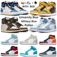 대학교 블루 1 농구 신발 1S 높은 반응 어두운 모카 전기 오렌지 군사 UNC 빛 연기 회색 하이퍼 로얄 특허 BRED 꽃가루 남성 여성 운동화
