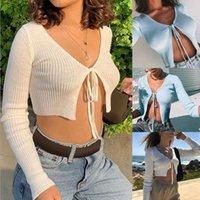 AUTOMNE HIVER NET Célébrité Tops ombilical pour femmes Style Coupe-Cardigan Self-Culture Cardigan Femmes Shortfashion T-shirt