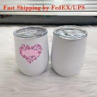 Сублимационные винные тумблеры кружки 12 унций DIY яйцо форма чашки из нержавеющей стали кофейные очки термо молочные чашки