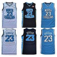Homens NCAA Norte Carolina Tar Heels 23 Michael Jersey Unc College Basketball Jerseys Voando Homem Preto Branco Azul